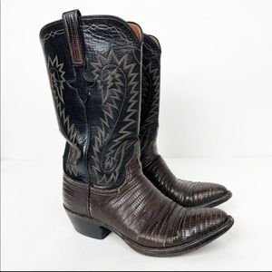 LUCCHESE Exotic lizard Pointed Toe Western boots 6